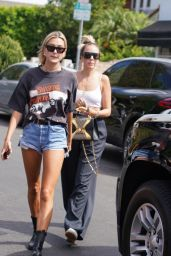 Hailey Baldwin Leggy in Denim Shorts - West Hollywood 08/29/2018