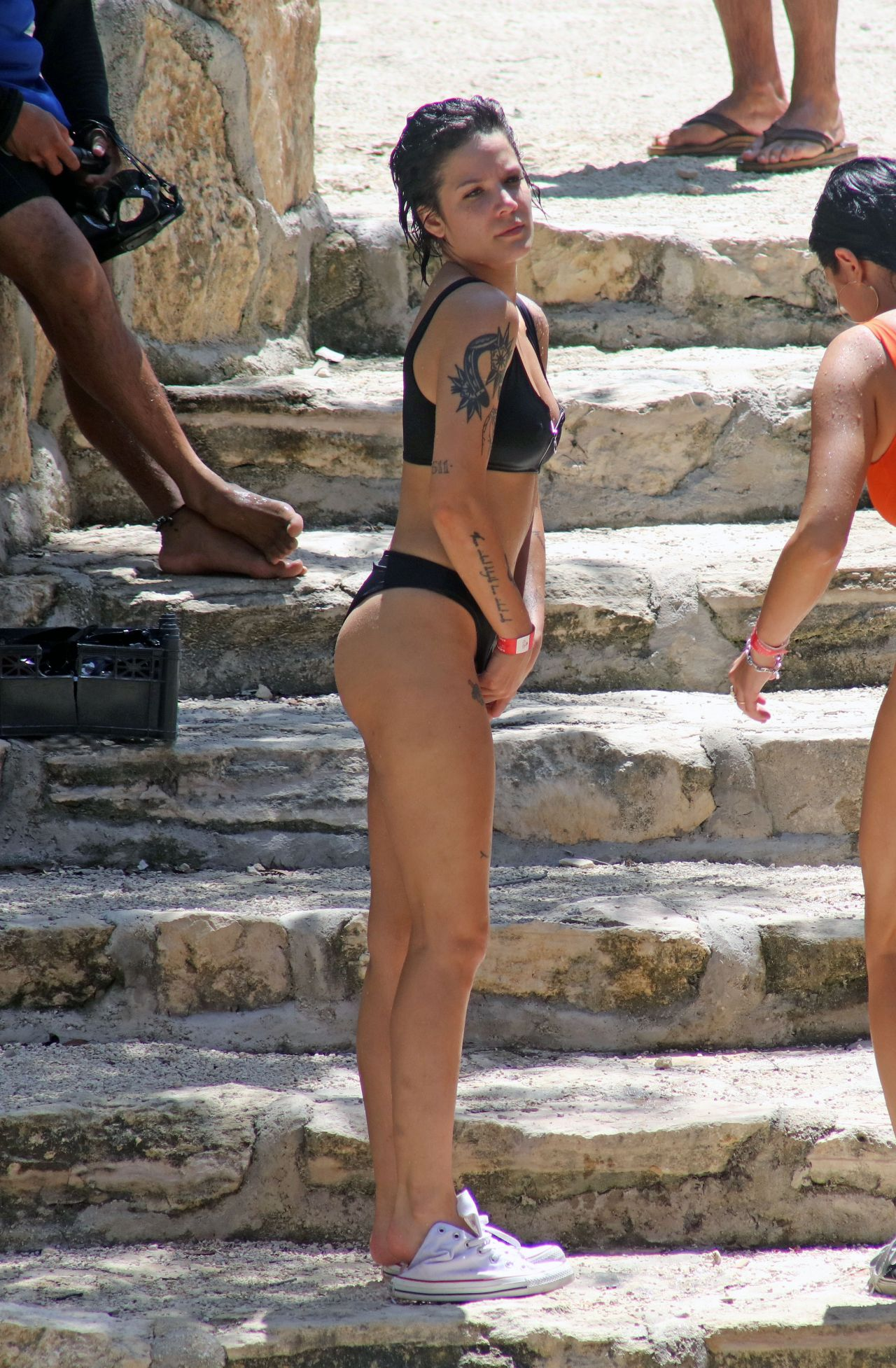 Halsey In A Zip Up Bikini At The Cenote Tortuga In Tulum