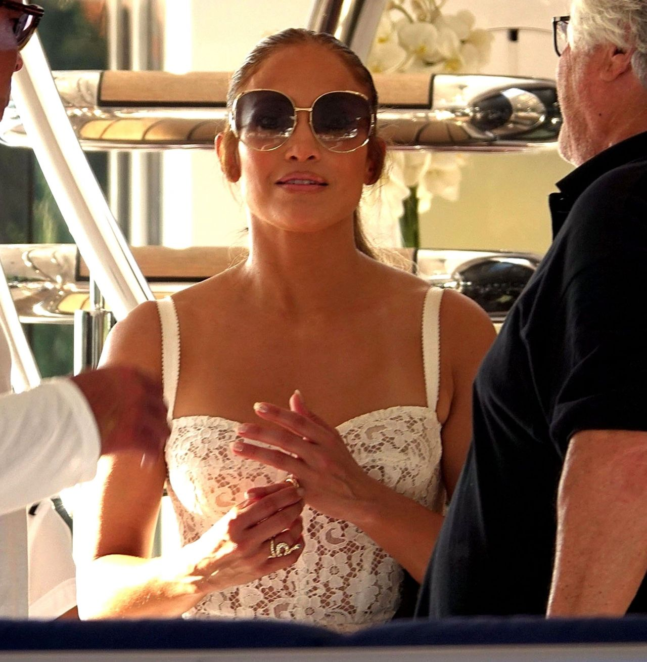 Jennifer Lopez and Alex Rodriguez on Their Luxury Yacht in Capri 08/07/2018