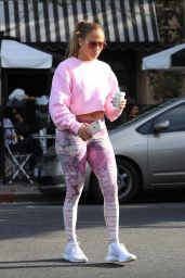 Jennifer Lopez in Pink Patterned Leggings and a Crop Top Sweater - West Hollywood 08/30/2018