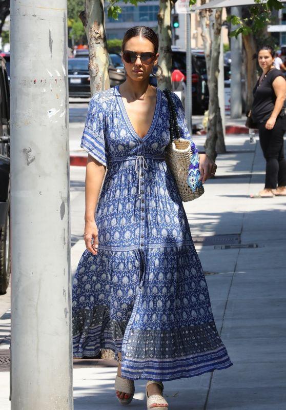 Jessica Alba in a Summery Blue Dress - Shopping in LA 08/04/2018