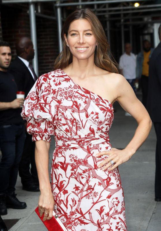 Jessica Biel Arriving to Appear on The Late Show with Stephen Colbert in NYC 08/15/2018