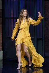 Jessica Biel at The Late Night with Seth Meyers in NYC 08/16/2018