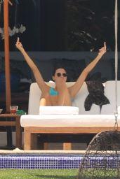 Kendall Jenner in a Blue Bikini Poolside at a Resort in Puerto Vallarta