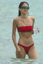 Kim Turnbull in a Red Bikini on the Beach in Barbados 08/11/2018