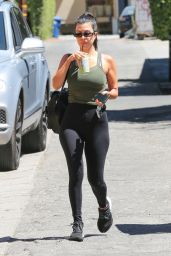 Kourtney Kardashian in Leggings and an Olive Green Tank Top - West Hollywood 08/29/2018