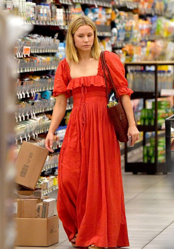 Kristen Bell in a Red Renaissance Faire Inspired Dress - Grocery Shopping in LA 08/05/2018