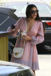 Lea Michele in a Pink Dress - Leaves Switch in Beverly Hills 08/26/2018