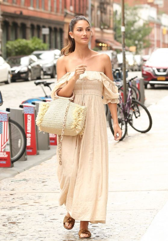 Lily Aldridge in a Tan Dress - Tribeca in NY 08/14/2018