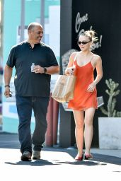 Lily-Rose Depp in a Red Mini Dress - Shopping in West Hollywood 08/07/2018