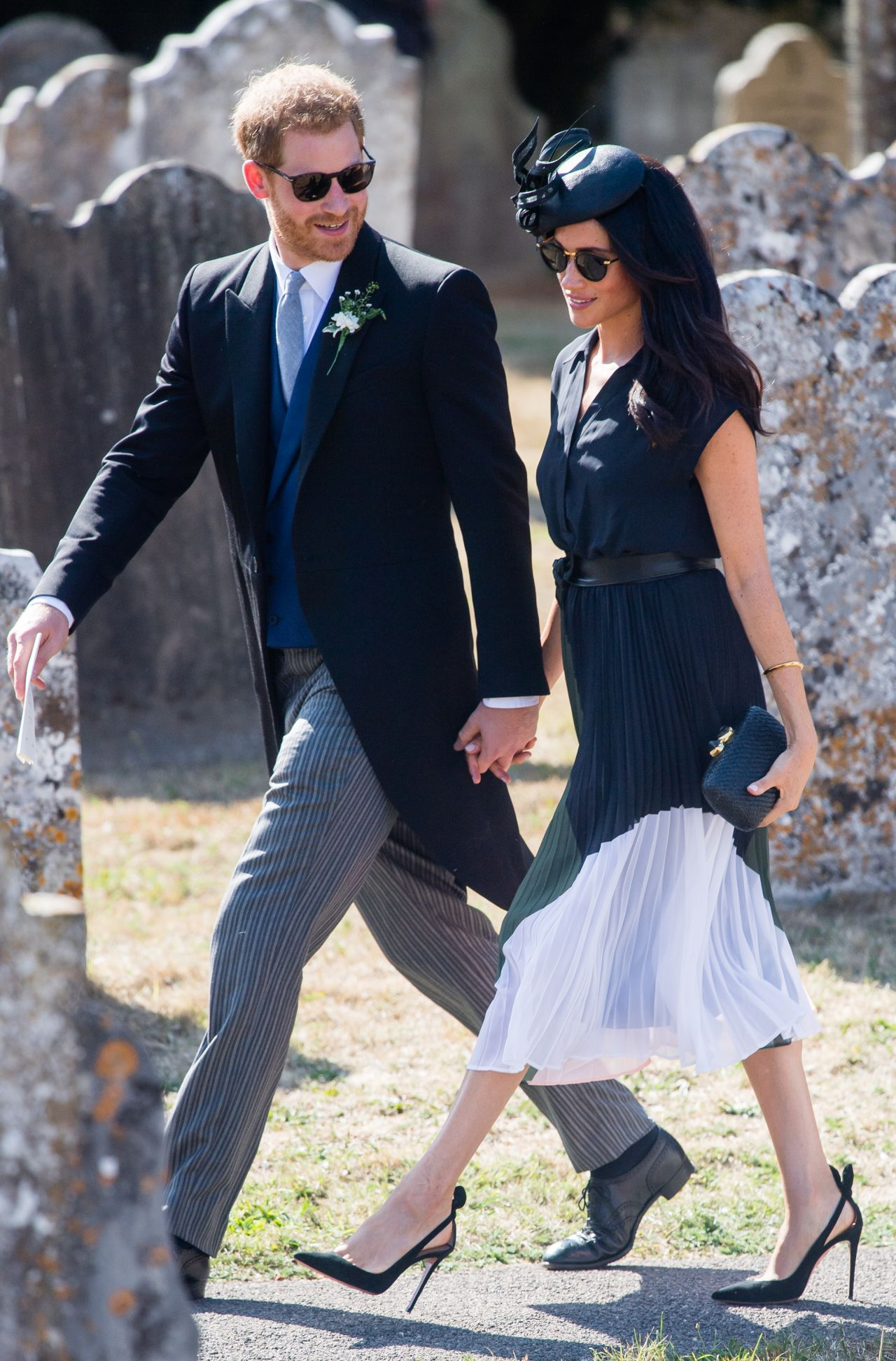 meghan markle and prince harry leaving daisy jenks and charlie van straubenzee 39 s wedding in surrey. Black Bedroom Furniture Sets. Home Design Ideas