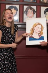 Melissa Benoist Gets Caricature at Sardis in NYC 07/31/2018