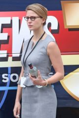 "Melissa Benoist - Season 3 Set of ""Supergirl"" in Vancouver 08/13/2018"