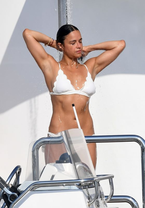 Michelle Rodriguez in Bikini on a Yacht in Sardinia 08/10/2018