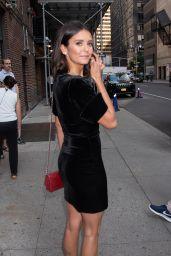 Nina Dobrev in a Black Dress - Leaving Her Hotel in NYC 08/08/2018