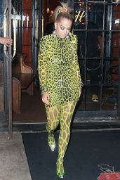 Rita Ora in Neon Green Leopard Print - Night Out in NYC 08/19/2018