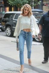 Rosie Huntington-Whiteley in a White Top and Jeans in New York 08/15/2018