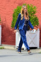 Sarah Jessica Parker in Blue Silk Matching Pantsuit - New York 08/22/2018