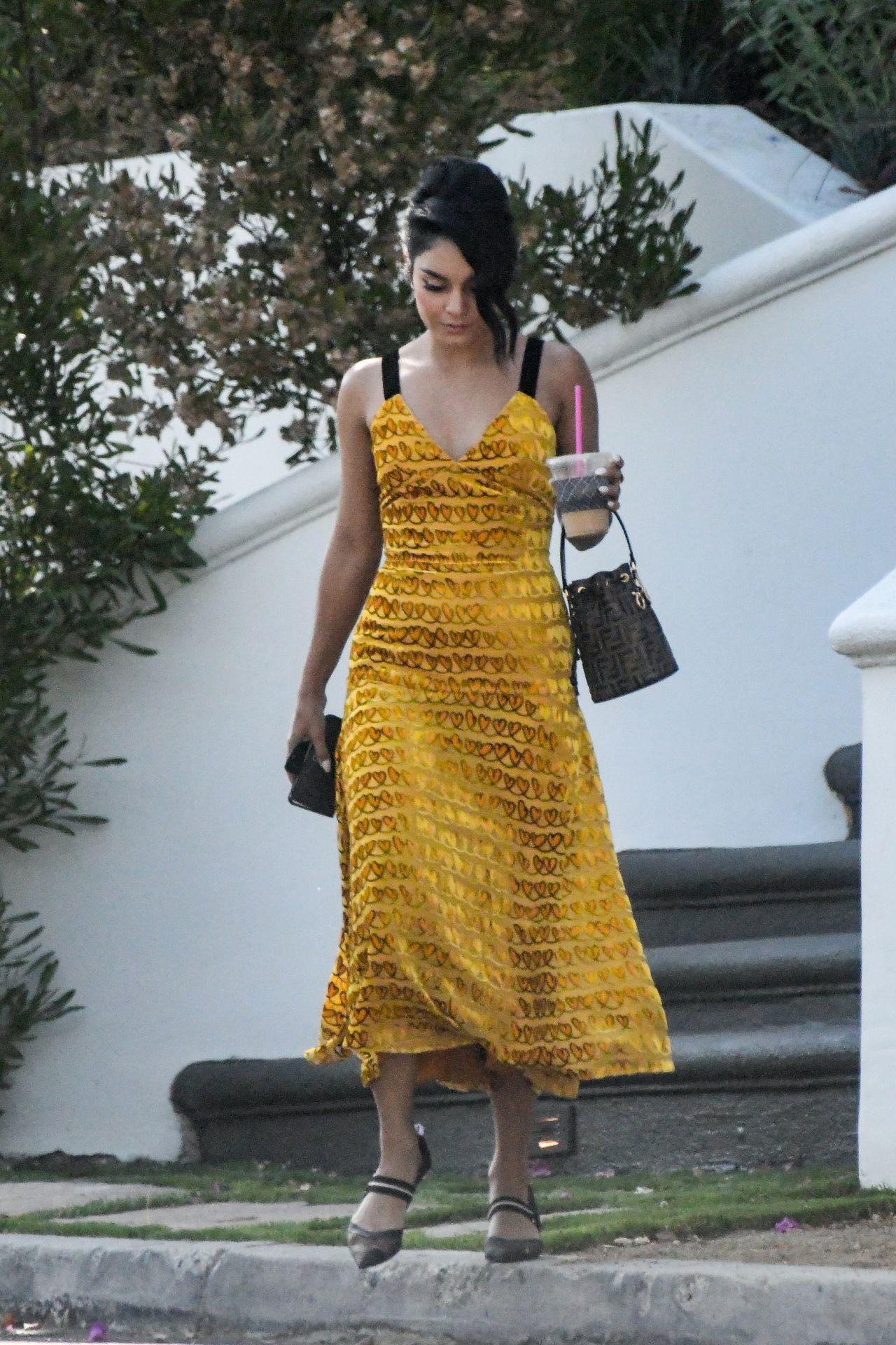 Vanessa Hudgens In A Yellow Summer Dress In La 08 04 2018