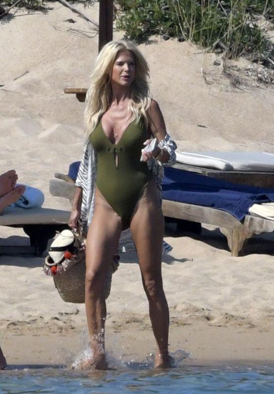 Victoria Silvstedt in Swimsuit on the Beach in Sardinia 08/06/2018