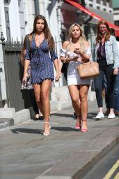 Zara McDermott and Ellie Jones - Exiting Soho Brasserie in London