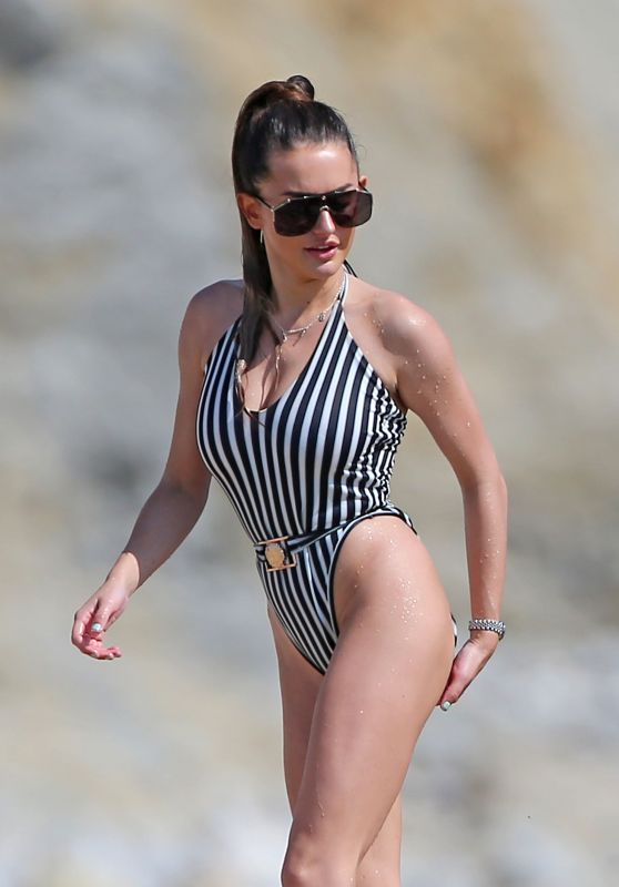 Amber Davies in Swimsuit on a Beach in Ibiza 08/31/2018