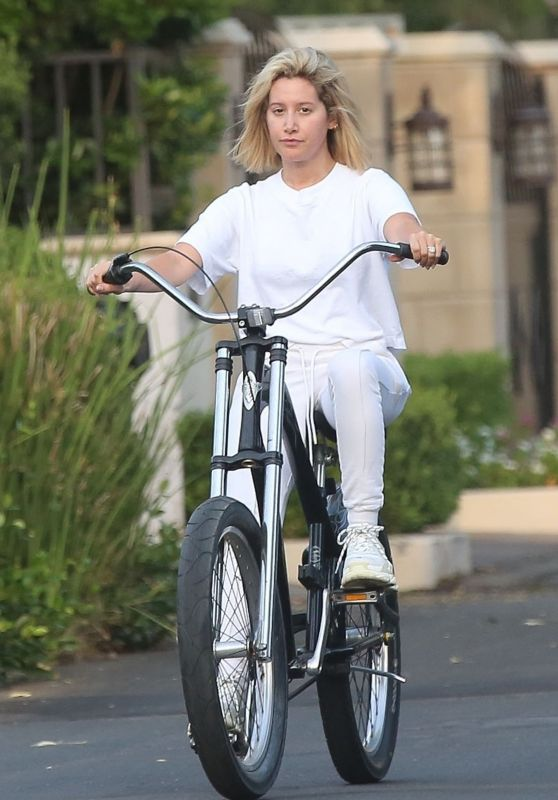 Ashley Tisdale - Bicycle Ride Around the Block in Toluca Lake 09/05/2018