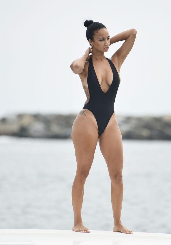Draya Michele in a Black Bikini - Newport Beach 09/06/2018