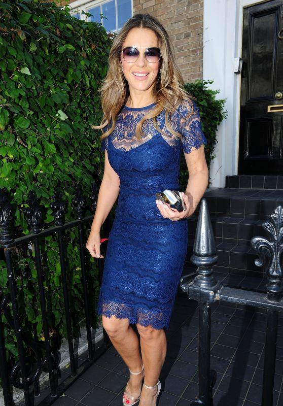Elizabeth Hurley in a Royal Blue Dress - Leaving Her Home in West London 09/27/2018