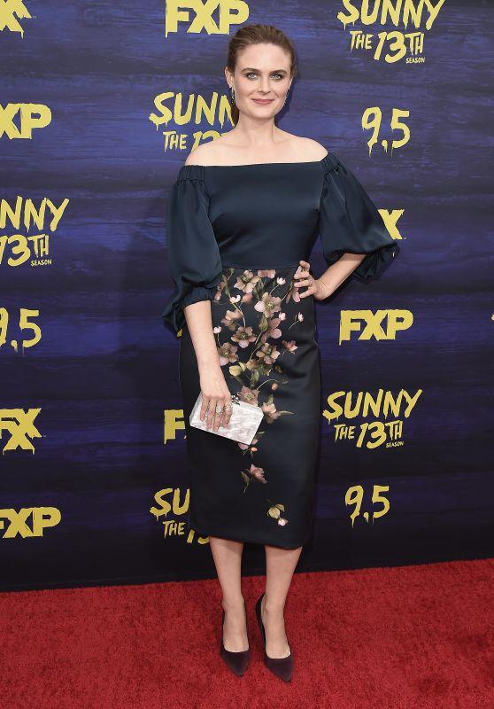 """Emily Deschanel – """"Its Always Sunny in Philadelphia"""" Season 13 Premiere in LA"""