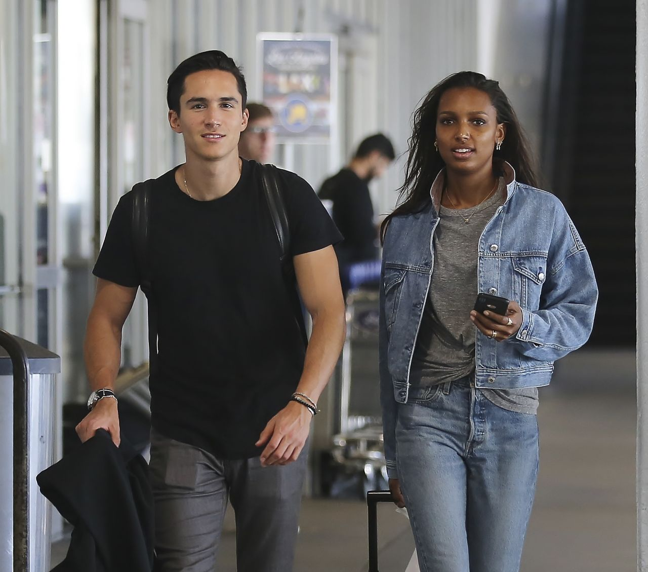 Jasmine Tookes And Her Boyfriend Juan David Borrero At LAX