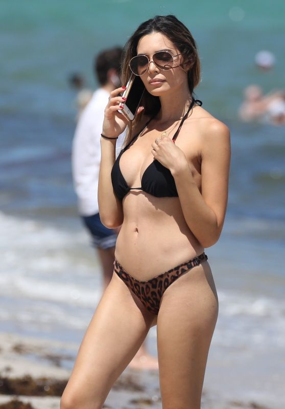 Jasmine Tosh in a skimpy Animal Print Bikini on Miami Beach, September 2018