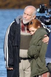 "Jessica Chastain and John Malkovich - First Day of Filming ""Eve"" 09/25/2018"