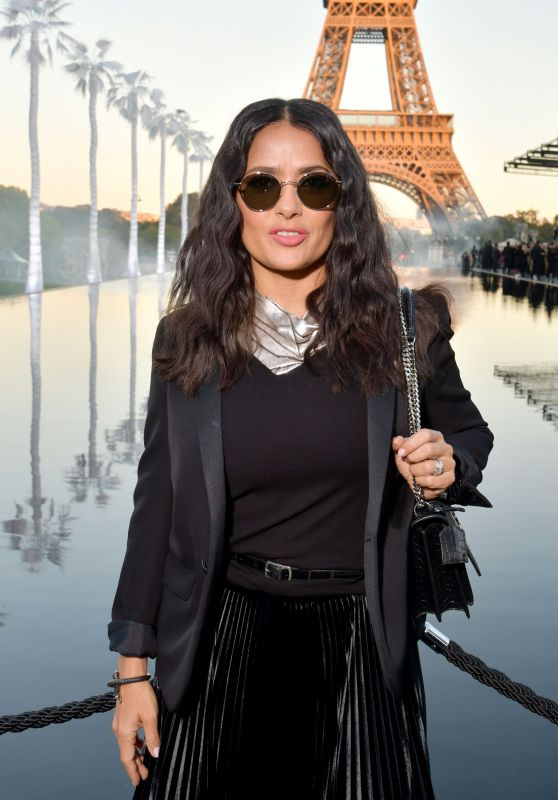 Salma Hayek – Saint Laurent Show, Paris Fashion Week 09/25/2018