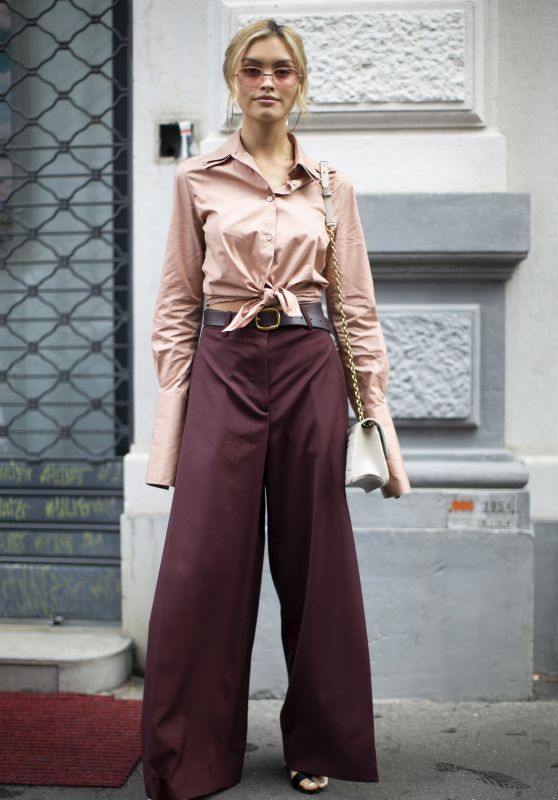 Sarah Ellen - Street Style for the Salvatore Ferragamo Fashion Show in Milan 09/23/2018