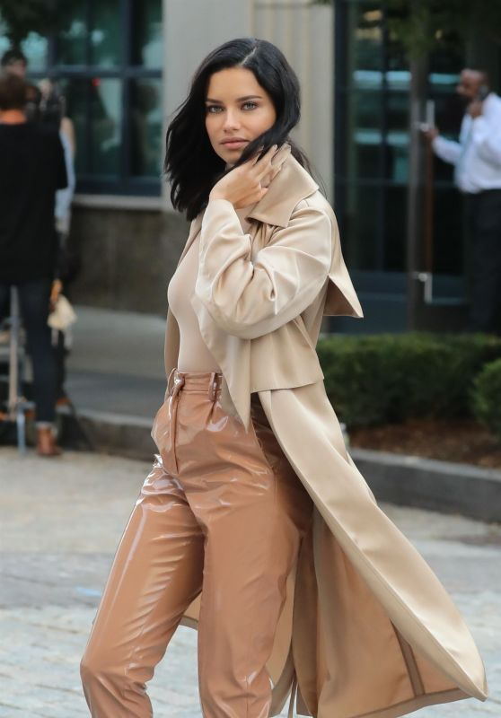 Adriana Lima in a Beige Colored Ensemble in NYC 10/04/2018
