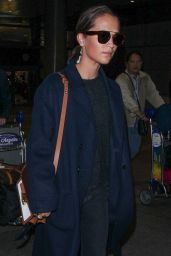 Alicia Vikander at LAX Airport in Los Angeles 10/19/2018