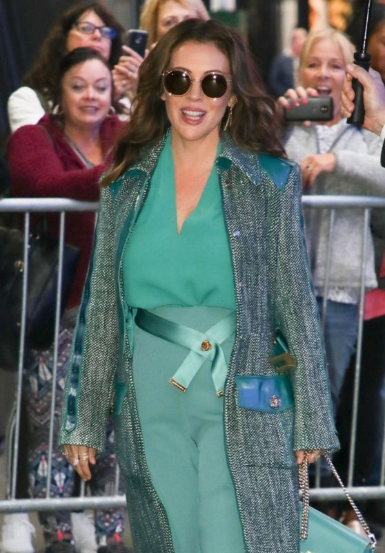 Alyssa Milano at GMA in NYC 10/15/2018