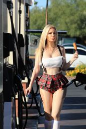 Ana Braga in a School Girl Halloween Outfit at a Gas Station in LA