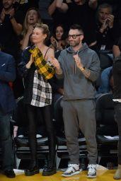 Behati Prinsloo and Adam Levine - Lakers vs Rockets Game in LA 10/20/2018