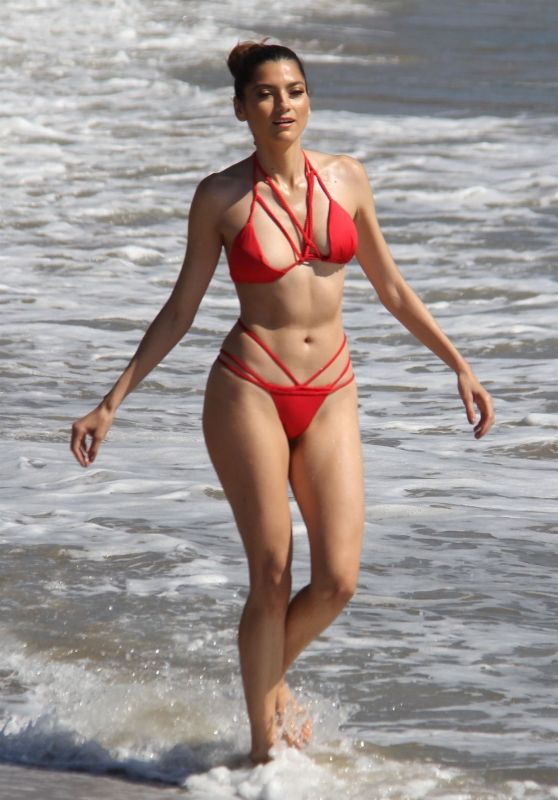 Blanca Blanco in a Red Bikini - Beach in Malibu 10/17/2018