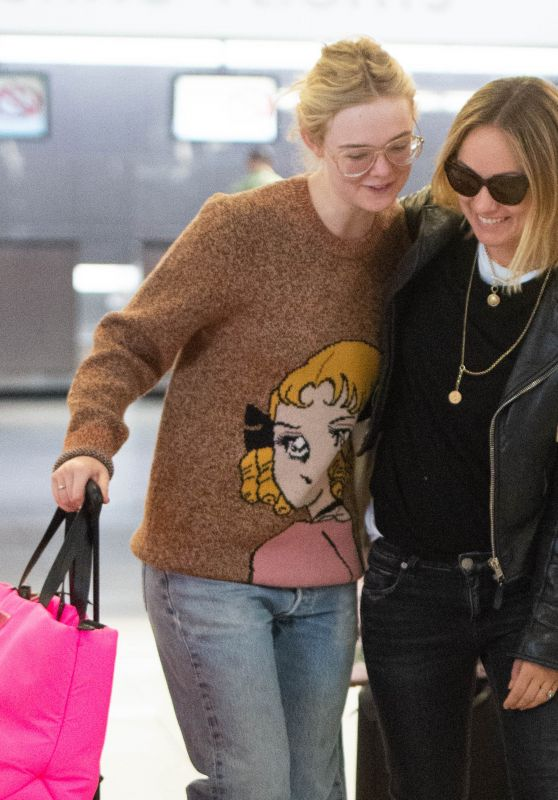Elle Fanning and Olivia Wilde - Arrive at JFK Airport in NYC 10/01/2018