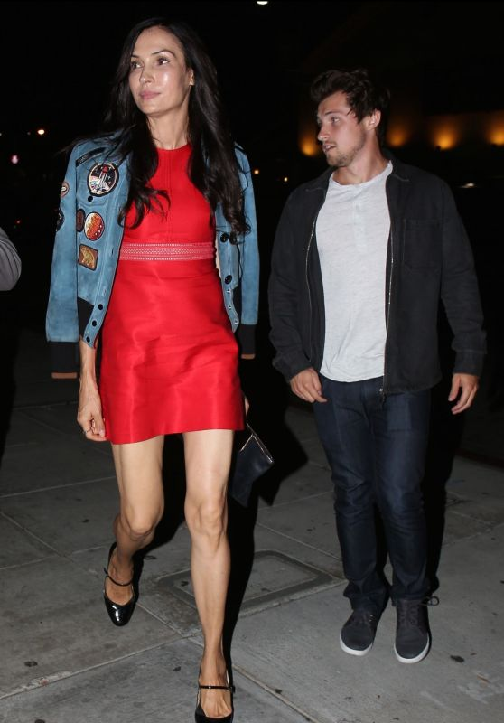 Famke Janssen in a Red Dress in Beverly Hills 10/03/2018