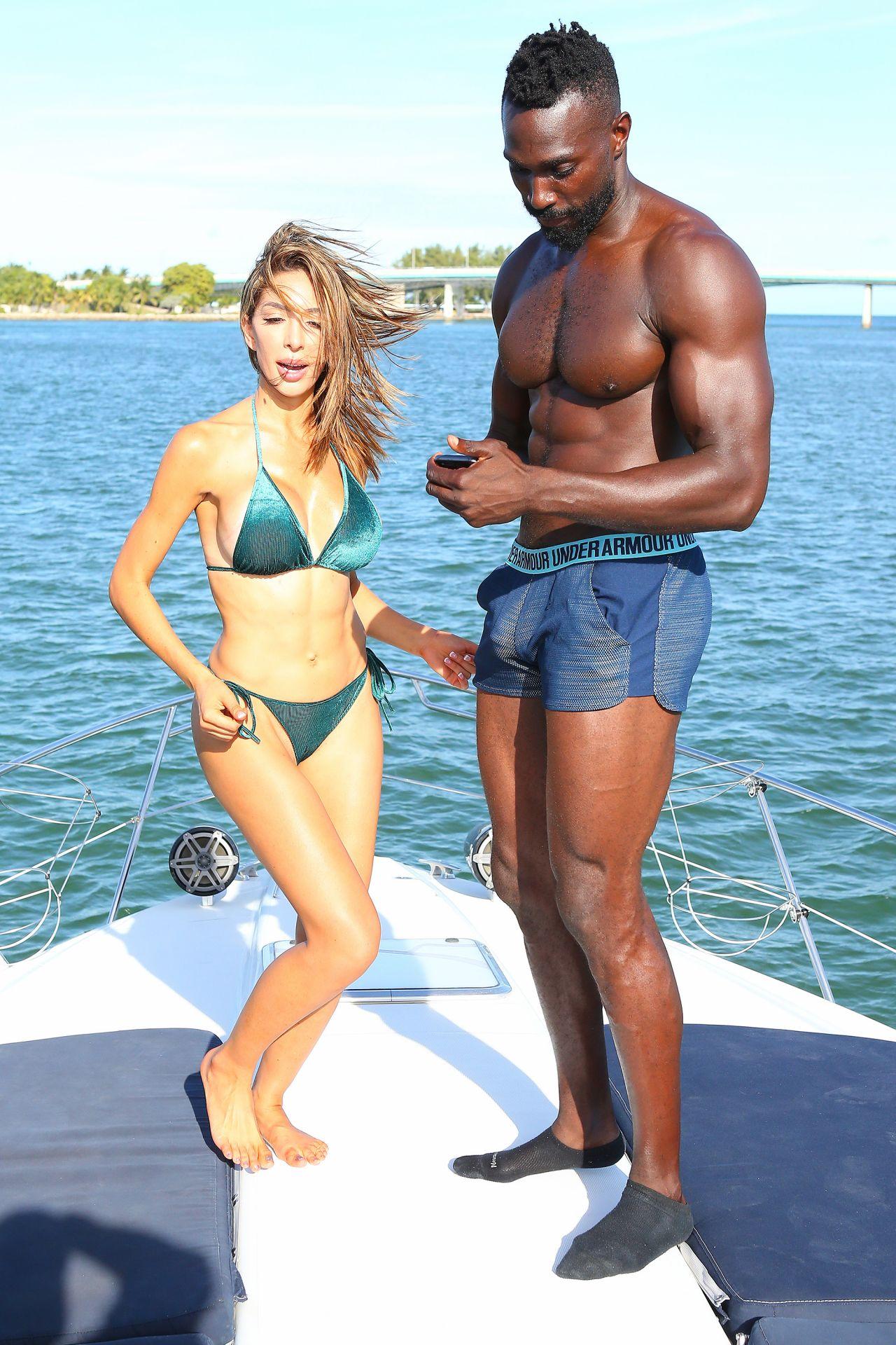Farrah Abraham In A Green Velvet Bikini On A Yacht In