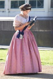 """Jenna-Louise Coleman - Filming """"Queen Victoria"""" in Liverpool 09/28/2018"""