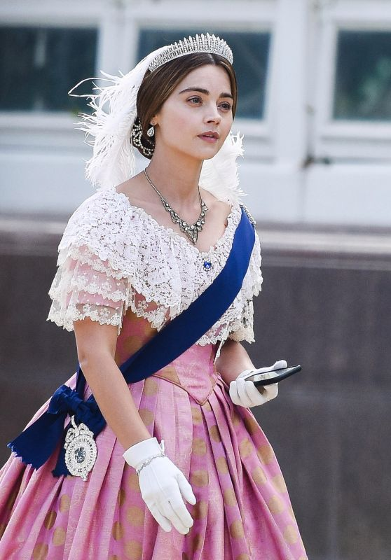 "Jenna-Louise Coleman - Filming ""Queen Victoria"" in Liverpool 09/28/2018"
