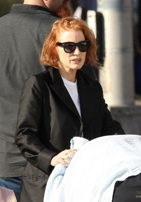 Jessica Chastain - Filming Her New Movie is in Boston 10/12/2018