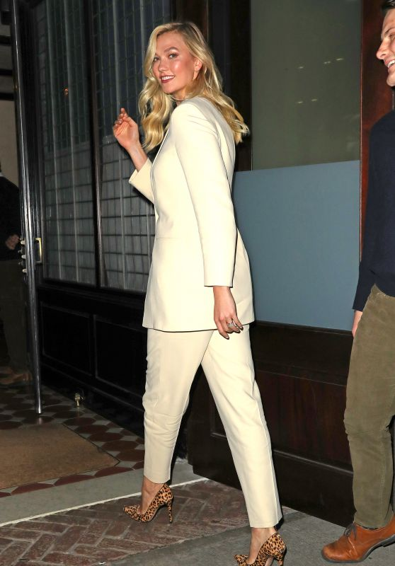 Karlie Kloss in a Cream Pant Suit - Night Out in NYC 10/30/2018