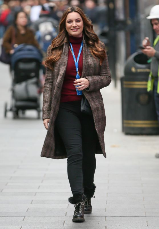 Kelly Brook in a Maroon Jumper - Arriving at The Global Radio in London 10/30/2018