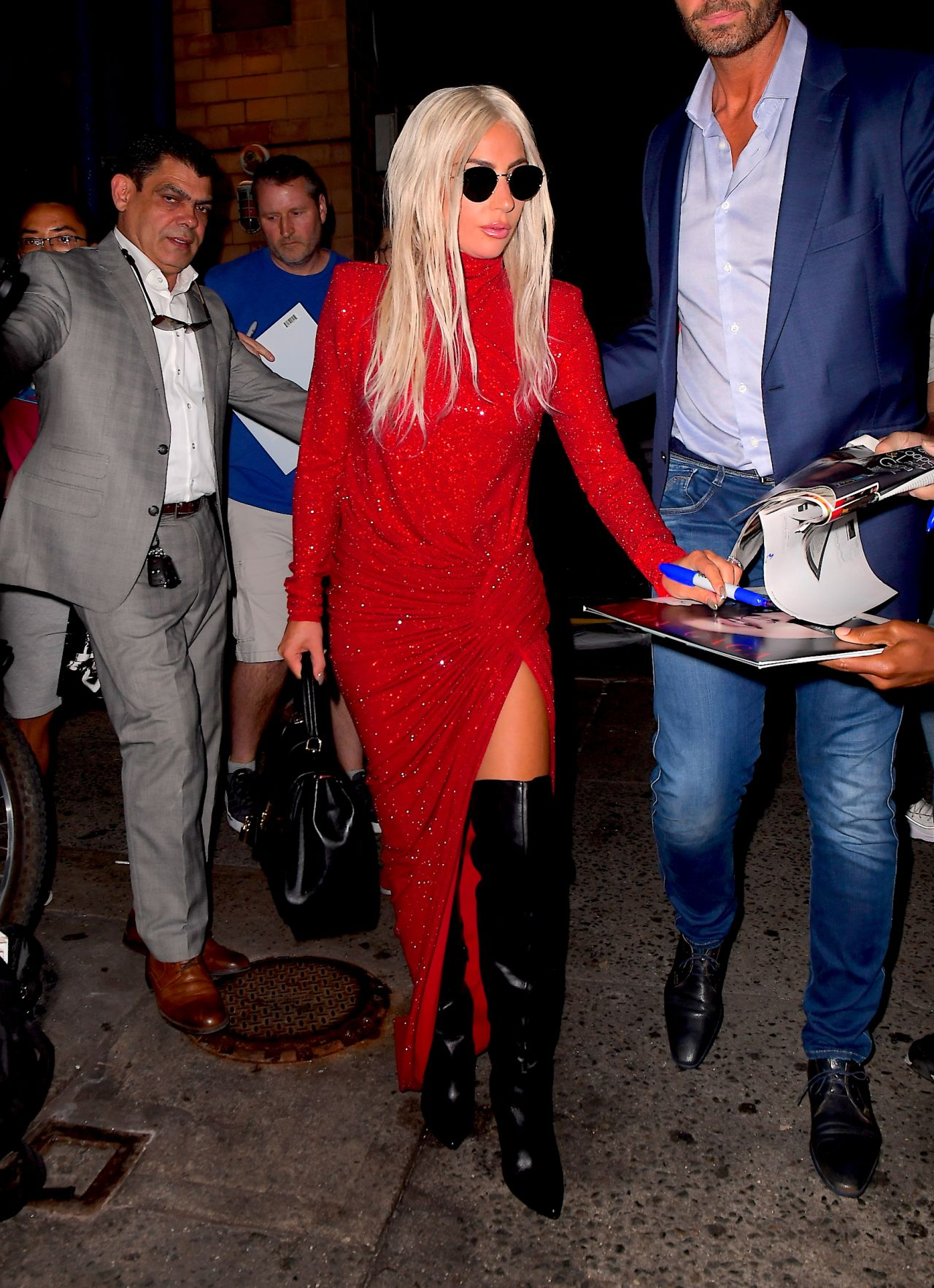 Lady Gaga In A High Slit Red Dress New York City 10 03 2018